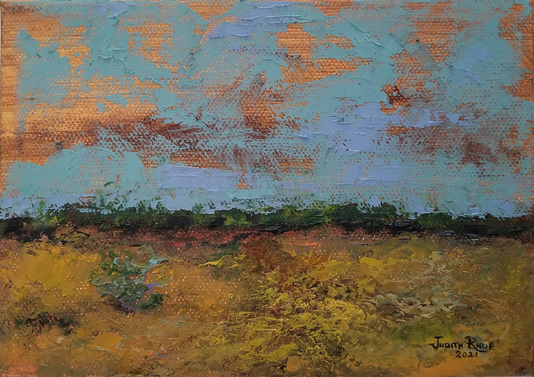 Perennial with the Earth - original oil painting, landscape, abstract, clouds, tree, trees, nature, country, countryside, paintings, canvas, wall, home, decor, art, US