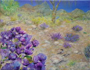 Purple Sage & Quail - original oil painting, landscape, quail, purple, sage, flowers, desert, Arizona, southwest, southwestern, canvas, wall art, home, decor, art