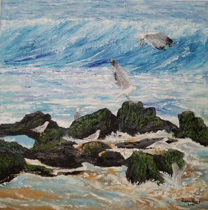 Seven Seagulls - original oil painting seagulls coastal beach seagull birds bird ocean rocks waves sand sea shore nature wall home decor canvas seascape art