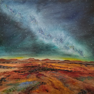 Starlight Comfort - original oil painting, landscape, abstract, desert, stars, star, milky way, night, sky, clouds, mountains, wilderness, canvas, home, decor