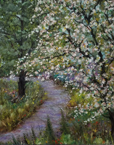 Sunday Stroll - original oil painting, landscape, trees, tree, path, garden, flowers, nature, landscapes, colorful, unique, gift, wall, home, decor, art, US