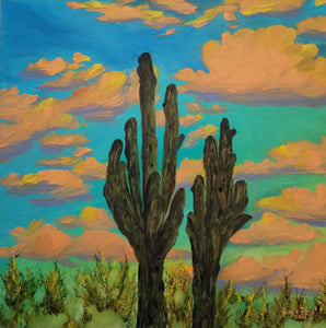 Together Through The Years - original oil painting desert landscape cactus saguaro Arizona southwest southwestern clouds colorful unique sky wall art home decor nature