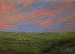 Warm Whispers - original oil painting, landscape, impressionist, clouds, green, grass, valley, vista, sky, summer, field, country, countryside, canvas, art