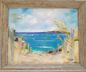 You Know the Way - original oil painting, beach, landscape seagrass, sand, sea, ocean, painting, oil painting, framed, clouds, canvas, wall art, home, decor, art