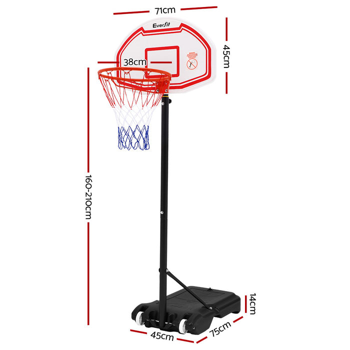 PowerCore Height Adjustable Full Size Basketball Ring System | White