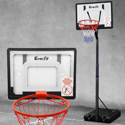 Everfit Height Adjustable up to 2.6M Basketball Ring System | Black