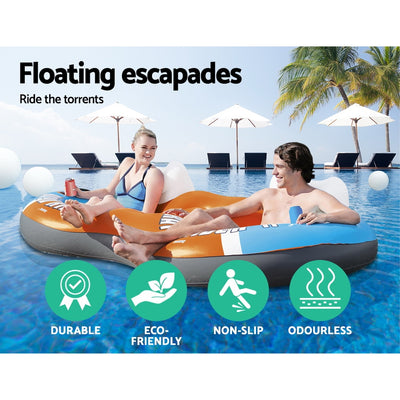 Bestway Inflatable Tin Sun Lounger Air Bed Lilo Pool Float | Blue/Orange