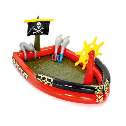 Bestway 1.9M x 1.4M Inflatable Kids Pirate Ship Splash Pool | Black/Red