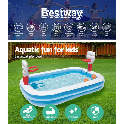Bestway 2.5M x 1.6M Inflatable Kids Above Ground Swimming Pool with Basketball Hoops | Blue