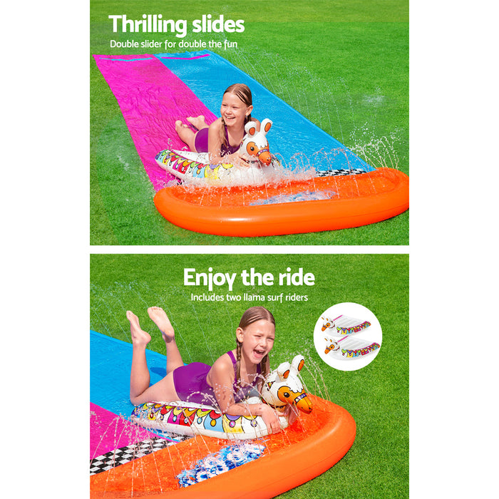 Bestway 4.8M Inflatable Double Water Slip and Slide with Slide Riders | Blue/Red/Orange/Pink