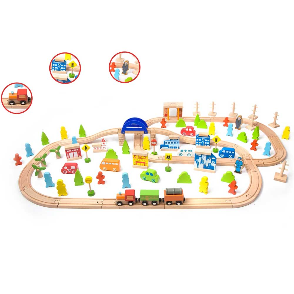 Classic World Deluxe 110pc Wooden Train Play Set | Multi Colour