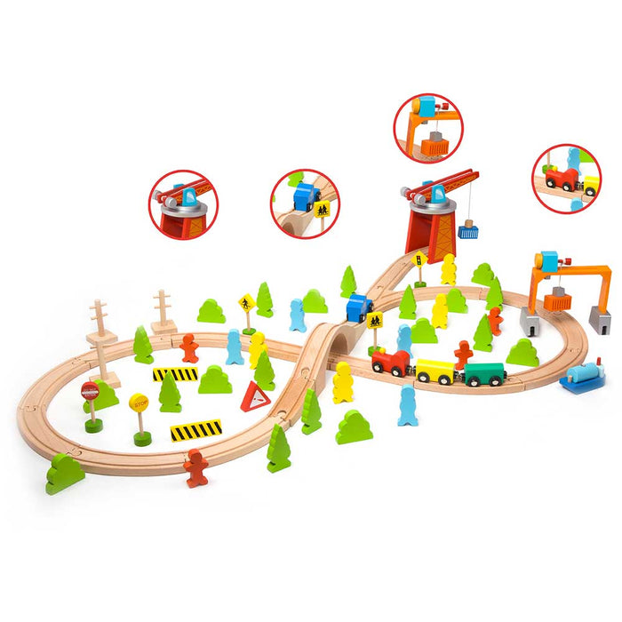 Classic World Deluxe 75pc Wooden Train Play Set | Multi Colour