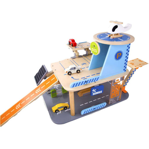 Classic World Eco Friendly Wooden Car Garage Play Set | Blue/Natural