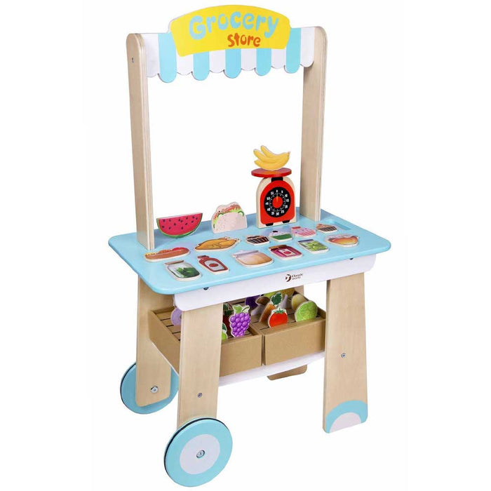 Classic World Grocery Store Wooden Kitchen Play Set | Blue/White