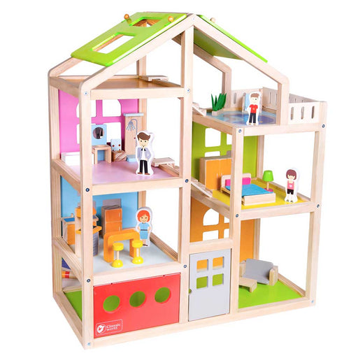 Classic World Happy Villa Wooden Dolls House Play Set | Multi Colour
