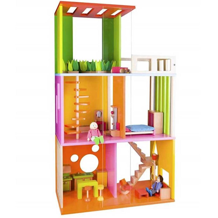 Classic World Modern Home Wooden Dolls House Play Set | Multi Colour