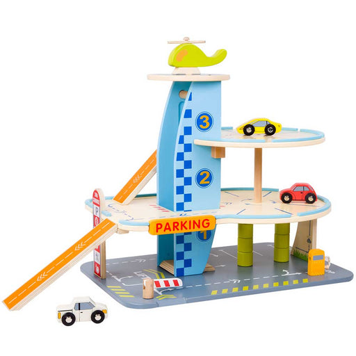 Classic World Wooden Car Garage Play Set | Blue/Natural