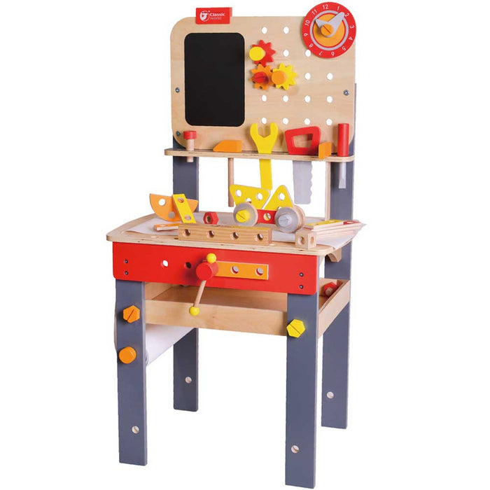 Classic World Wooden Kids Workbench Set | Red/Natural