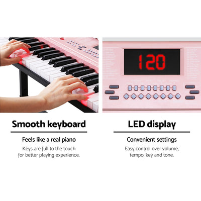 61 Key LED Lighted Electronic Piano Keyboard | Soft Pink