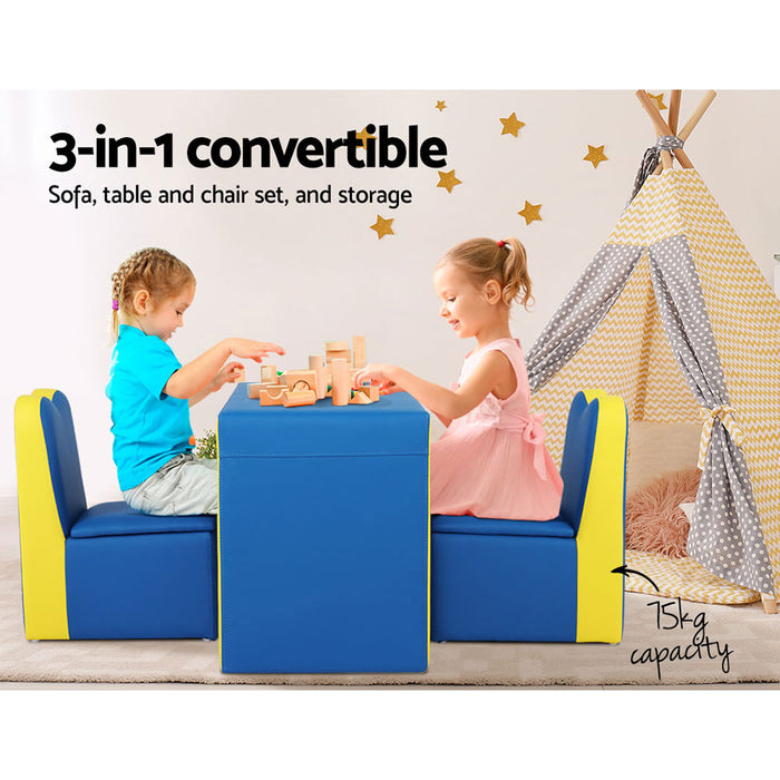 Norway Kids Double Armchair Sofa & Play Table | Blue/Yellow