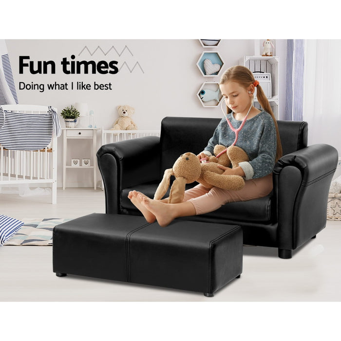 Norway Kids PU Leather Double Armchair with Ottoman | Black