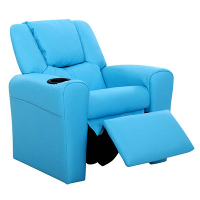 Norway Kids Premium PU Leather Reclining Armchair | Blue