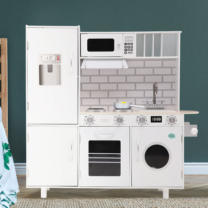 Little Chef Deluxe Kids Wooden Kitchen Play Set | White/Natural