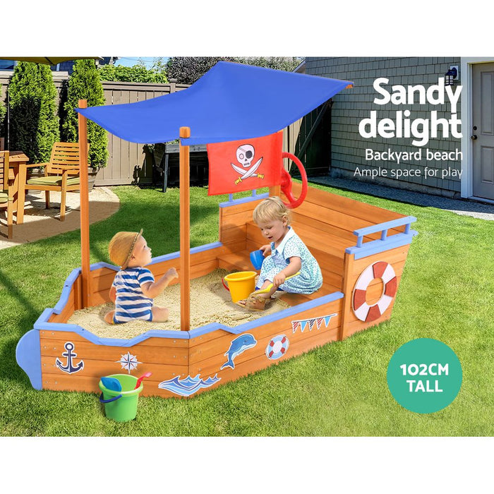 Loblolly Kids Jumbo Pirate Ship Shaped Sand Pit with Canopy | Natural