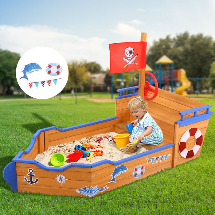 Loblolly Kids Jumbo Pirate Ship Shaped Sand Pit | Natural