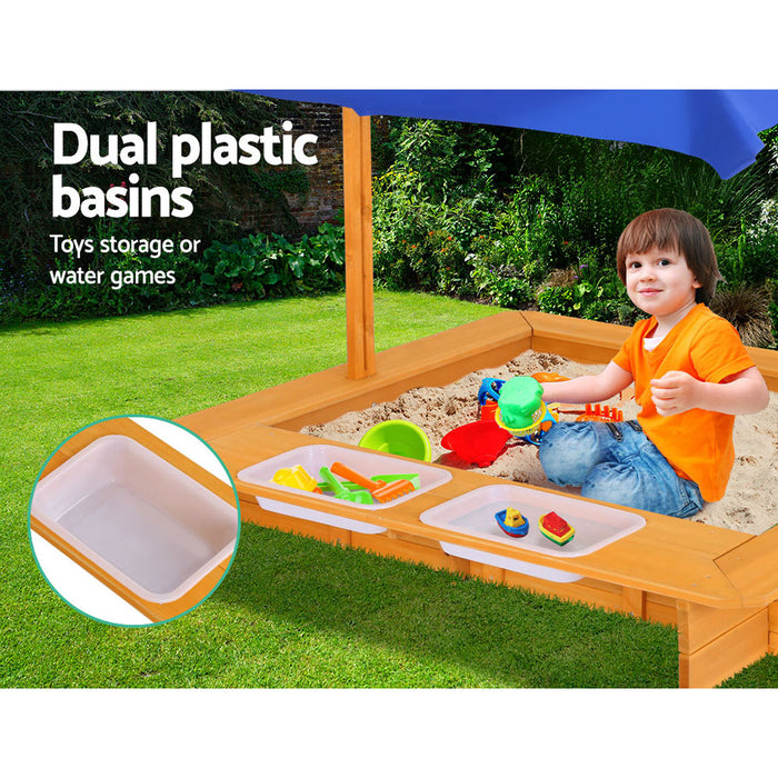 Loblolly Kids Wooden Toy Sandpit with Water Play | Natural