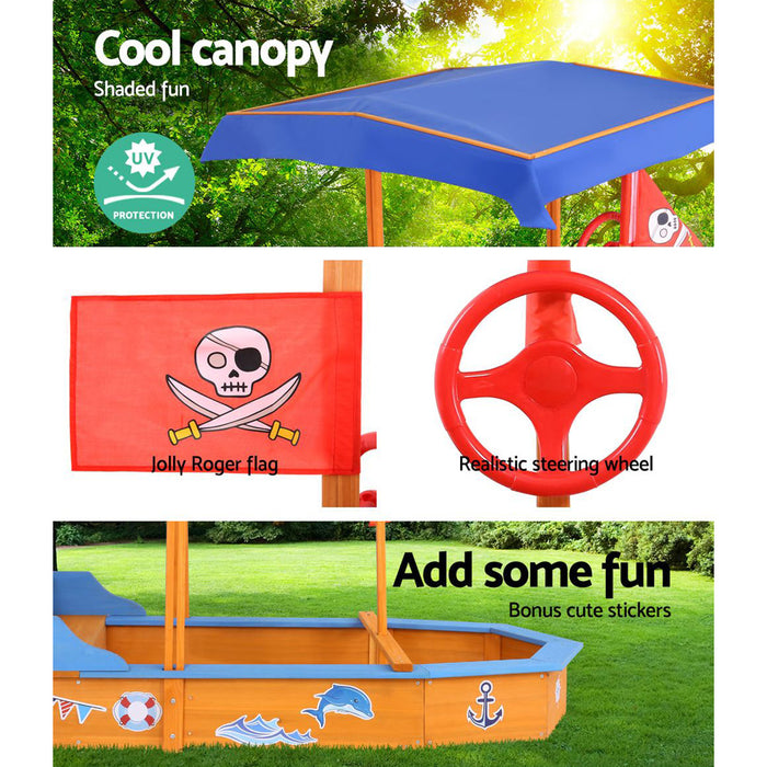 Loblolly Large Kids Boat Shaped Sand Pit with Canopy | Natural