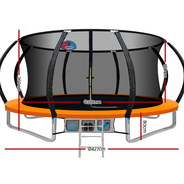Jump Star 14 Foot Trampoline | Black with Orange
