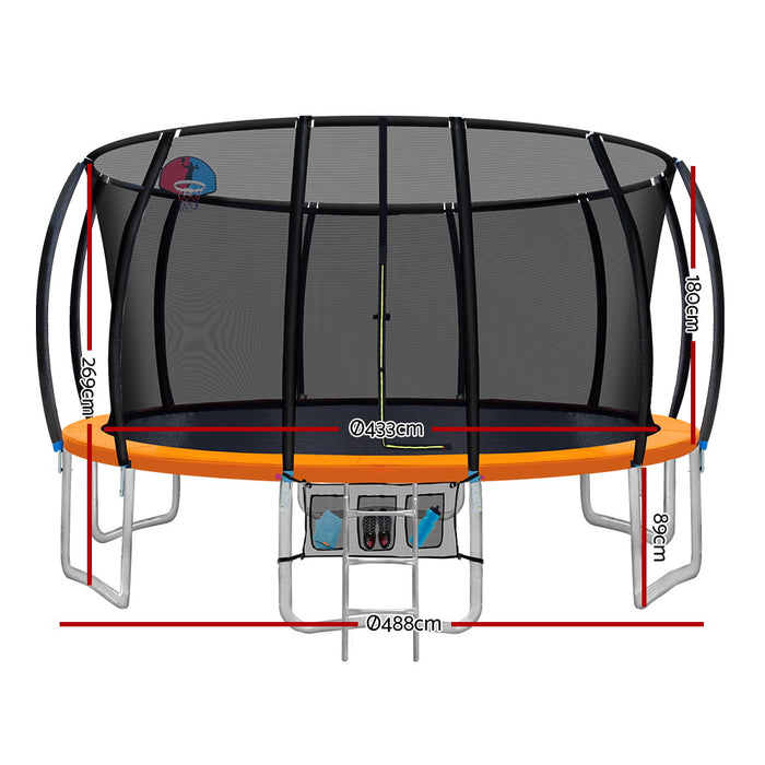 Jump Star 16 Foot Trampoline | Black with Orange