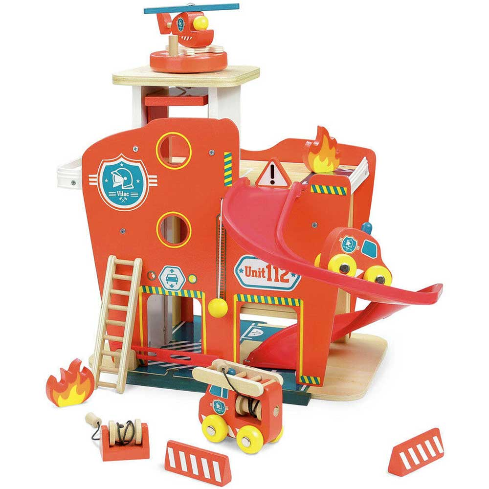 Vilac Deluxe Wooden Fire Station Play Set | Fire Engine Red