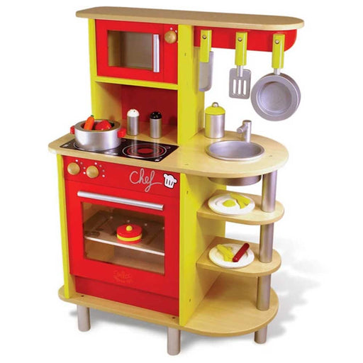 Vilac Large Kids Wooden Kitchen Play Set with Accessories | Red/Yellow