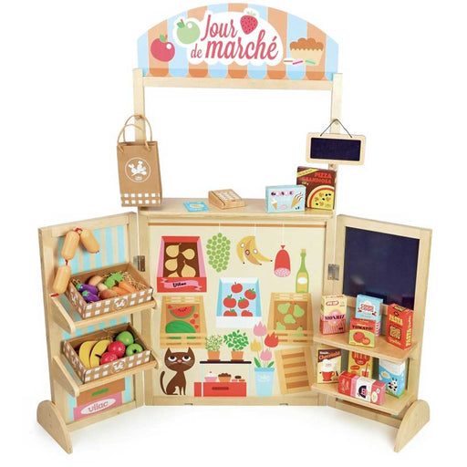 Vilac Large Retro Grocery Store Wooden Kitchen Play Set | Natural