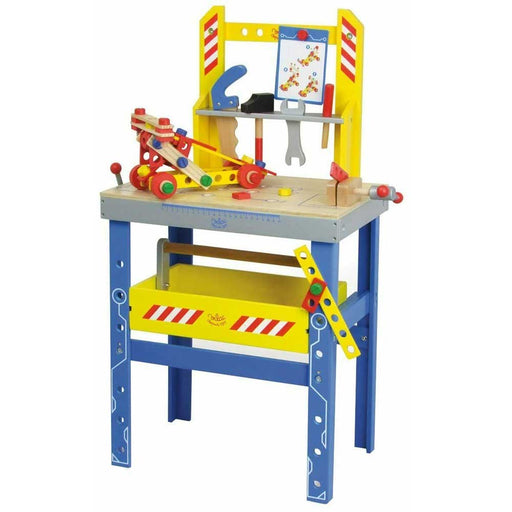 Vilac Large Wooden Kids Work Bench Set | Blue/Yellow