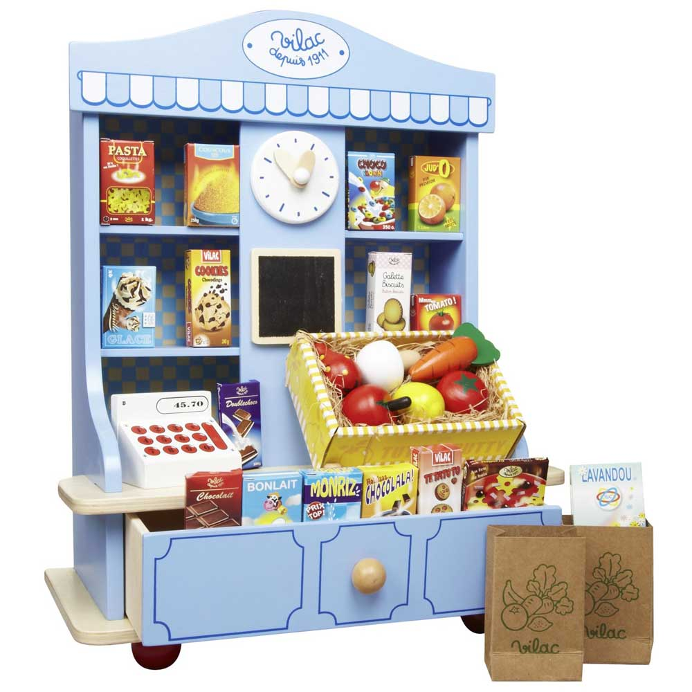 Vilac Little Grocery Store Wooden Kitchen Play Set | Blue