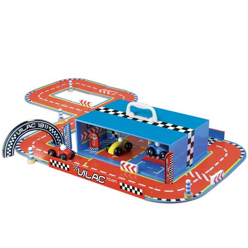 Vilac Wooden Car Garage & Racing Track in a Suitcase Play Set | Blue/Red