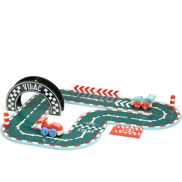Vilac Wooden Little Race Circuit Play Set | Blue/Red
