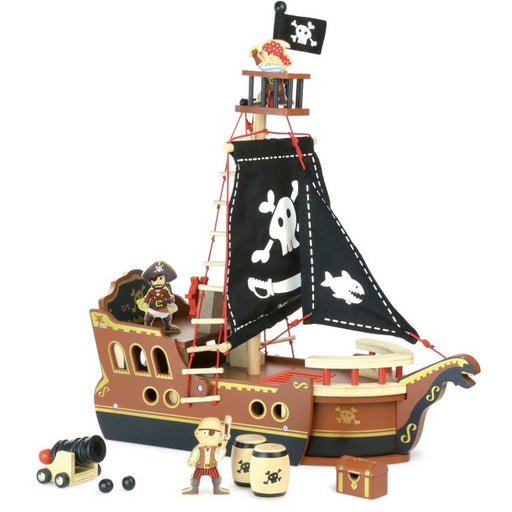 Vilac Wooden Pirate Ship Play Set | Brown/Black