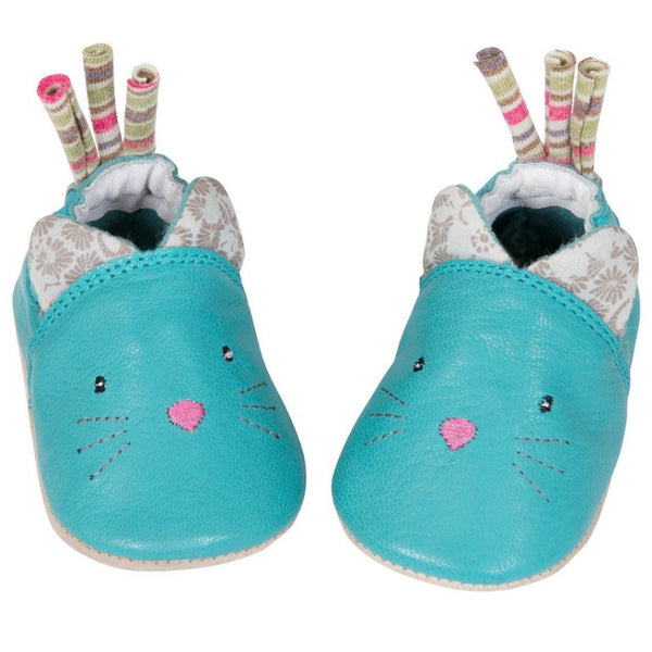 Blue Cat Leather Baby Slippers