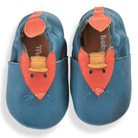 Blue Fox Leather Baby Slippers