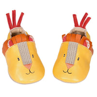 Yellow Lion Leather Baby Slippers