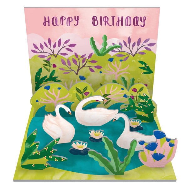 Swan Pop & Slot Birthday Card