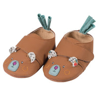 Brown Bear Leather Baby Slippers