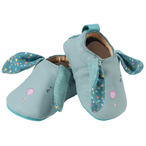 Blue Rabbit Leather Baby Slippers
