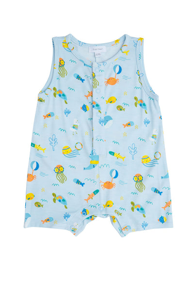 Sea Creatures Shortie Romper Blue