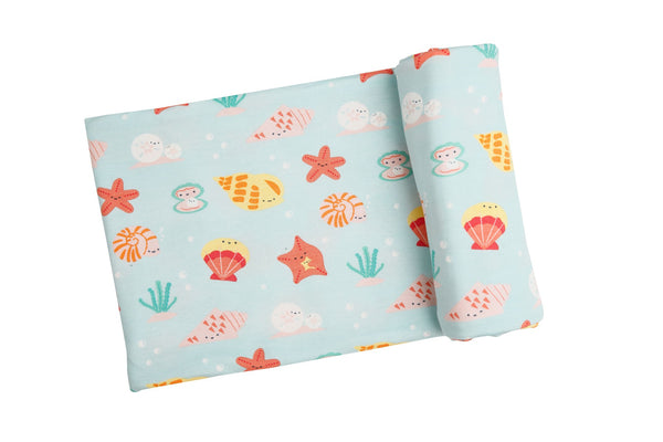 Happy Shells Swaddle Blanket Turquoise (45 x 45)