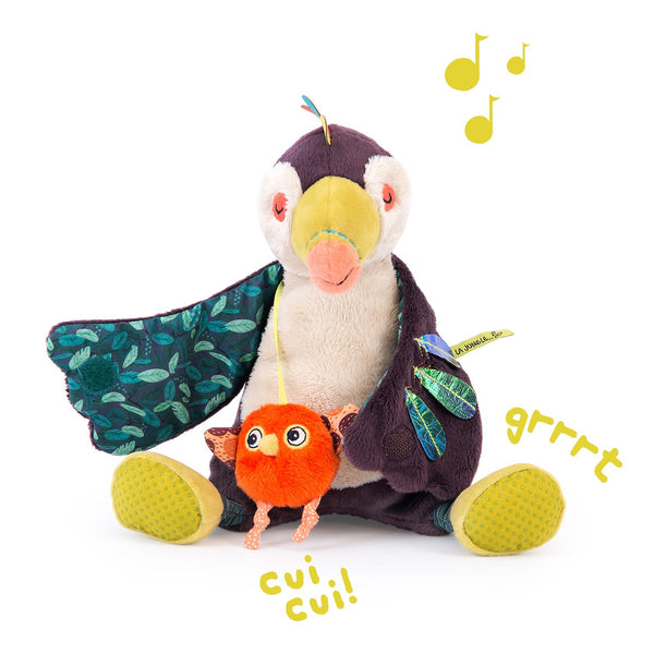 "Moulin Roty Dans La Jungle Pakou Musical Toucan 8"" Plush"